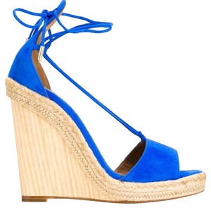 New Aquazzura Alexa Wedge 120m Mondrian Blue Wedges