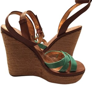 BCBGeneration Seafoam Green Copper Straw Wedges