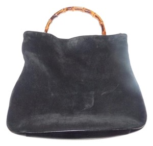 Gucci Gold Hardware Satchel in Black Suede body/leather accents