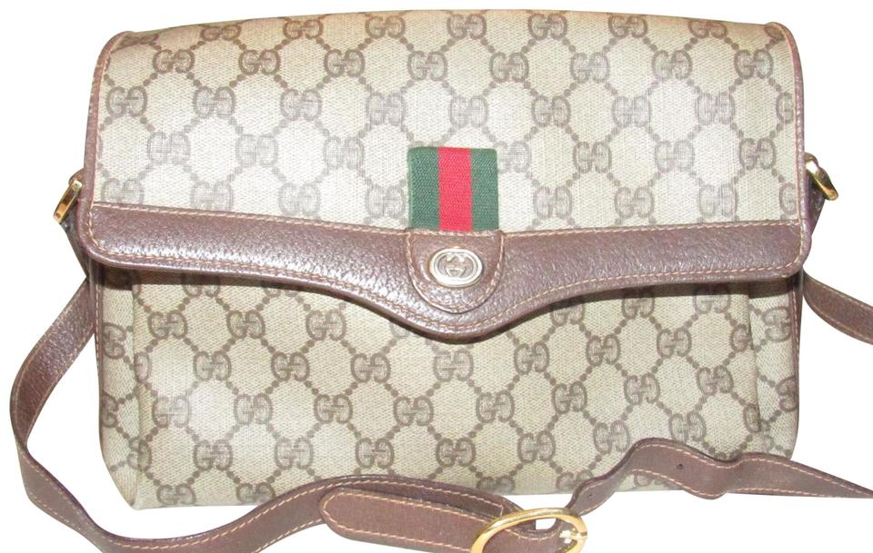 d9db857f7e8f Gucci Vintage Accessory Collection Purses/Designer Purses Brown Large G  Logo Print Coated Canvas and Brown Leather with A Red/Green Accent Cross  Body Bag