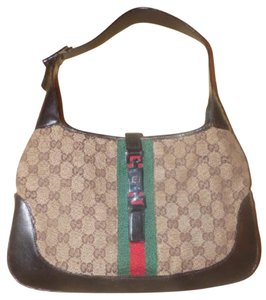 Gucci Large G Logo Print Limited Ed. Jackie Chrome Hardware Xl Size Shoulder Bag