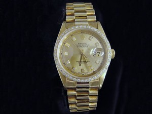 Rolex Men Rolex 18k Yellow Gold Datejust Wdiamond Dial Bezel President Style Band