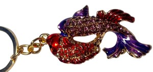 Other New Purple Red Gold Double Fish Keychain Key Ring J2751