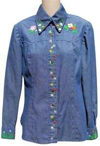 Other 70's Hippie Shirt Embroidered Button Down Shirt Blue Jean