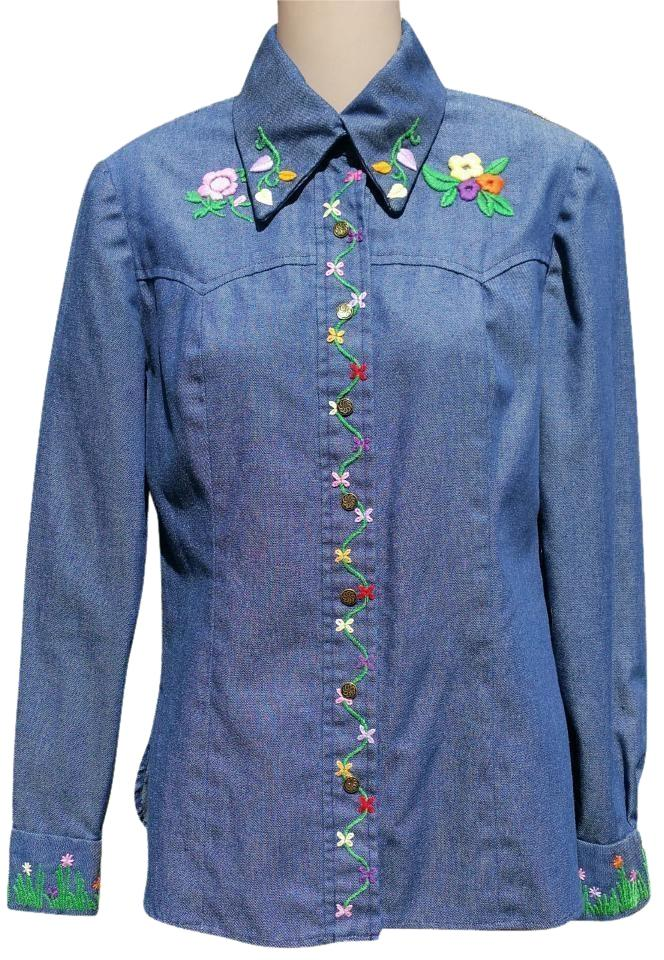 280fe896dee Other 70 s Hippie Shirt Embroidered Button Down Shirt Blue Jean Image 0 ...