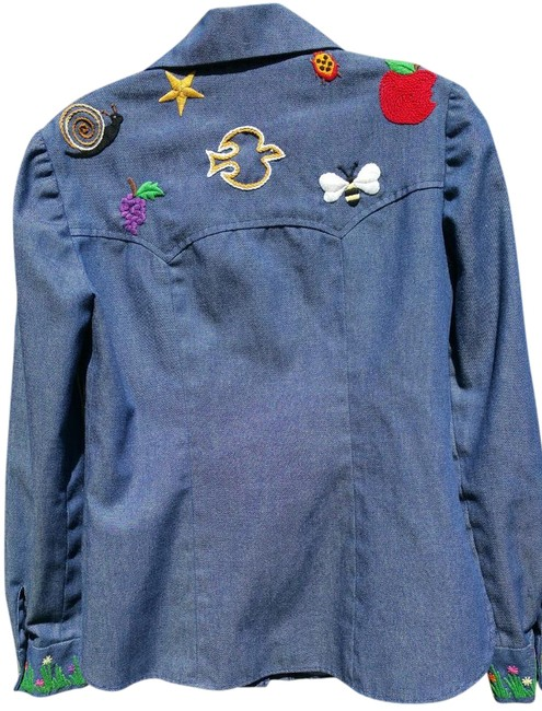 Other 70's Hippie Shirt Embroidered Button Down Shirt Blue Jean Image 1