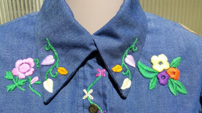 Other 70's Hippie Shirt Embroidered Button Down Shirt Blue Jean Image 3