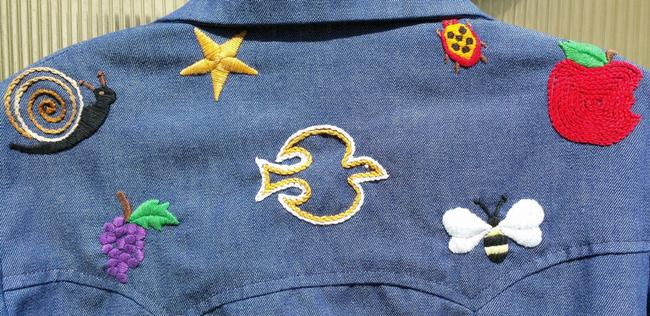 Other 70's Hippie Shirt Embroidered Button Down Shirt Blue Jean Image 4