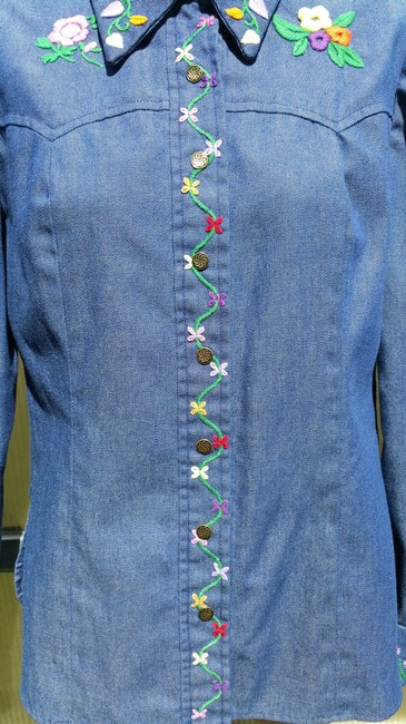 Other 70's Hippie Shirt Embroidered Button Down Shirt Blue Jean Image 5