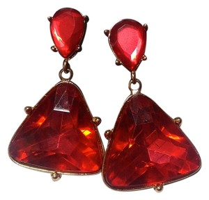 Fine Art Fine Art Large Crystal Earrings Red Gold J2752