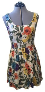 Urban Outfitters short dress Floral print multi colored - white, yellow, orange, purple, green, blue, black Retro Empire Waist Sleeveless on Tradesy