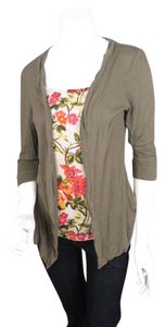 Christopher & Banks Floral Knit Twinset Tank Cardigan Sweater