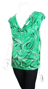 Dana Buchman Cowl Neck Floral Jersey Shirt Top Green, Black