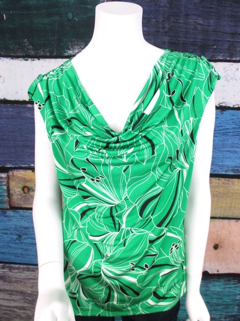 Dana Buchman Cowl Neck Floral Jersey Shirt Top Green, Black Image 1