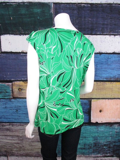 Dana Buchman Cowl Neck Floral Jersey Shirt Top Green, Black Image 2