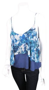 Sparkle & Fade Urban Outfitters Floral Tiered Blouse Top Blue