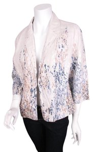 Coldwater Creek Coldwater Creek Classic Cream Blue 100 Linen Blazer Jacket