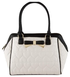 Betsey Johnson Satchel in Bone & Black