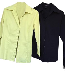 Express Button Down Button Down Shirt Black and yellow