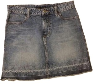 J.Crew Denim Frayed Mini Skirt Denim blue