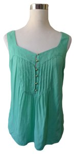 Banana Republic Babydoll Pleated Top Aqua