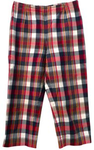 Ann Taylor Plaid Red White Blue Petite Capris multi color