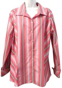 Liz Claiborne Non-iron Slimming Striped Cotton Button Down Shirt PINK