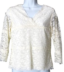 Coldwater Creek Lace 3/4 Sleeve Floral Top CREAM