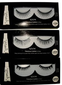 NYX Cosmetics NYX False Eyelashes new with Glue set of 3