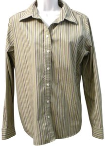 Eddie Bauer Wrinkle Resistant Striped Green Button Down Shirt MOSS GREEN