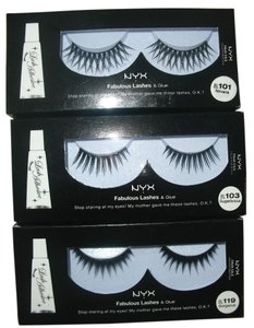 NYX Cosmetics Fancy NYX Eyelashes with Glue this is set of 3