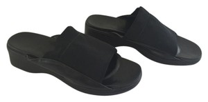 Rockport Leather Stretchy Retro Black Sandals