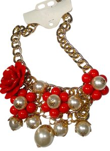 Other New Chunky Flower Bib Necklace Gold Red J2753