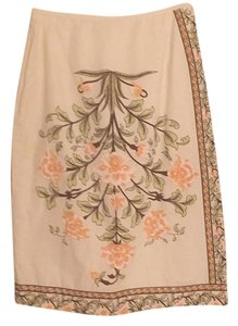 Paul & Joe Skirt Creme with peach flowers and mint gre