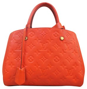 Louis Vuitton Lv Tote Montaigne Bb Monogram Satchel in orangered