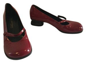 Via Spiga Mary Jane Leather Slip On Burgundy Flats