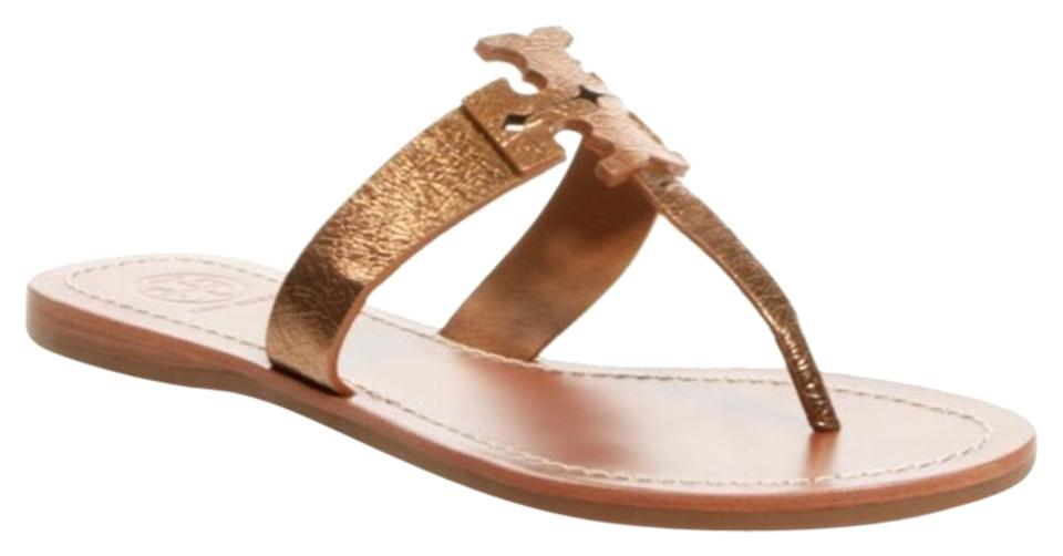 Tory Burch Bronze Moore Leather Flat Thong Gold Leather Moore Sandals d53e46