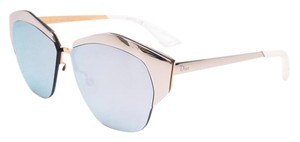 Dior Mirrored 55mm Round Cat Eye Sunglasses Palladium Gold/Extra White Multilayer