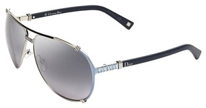 Dior Chicago 2 Strass 63mm Aviator Sunglasses Silver Light Blue Black Strass/Dark Grey Shaded