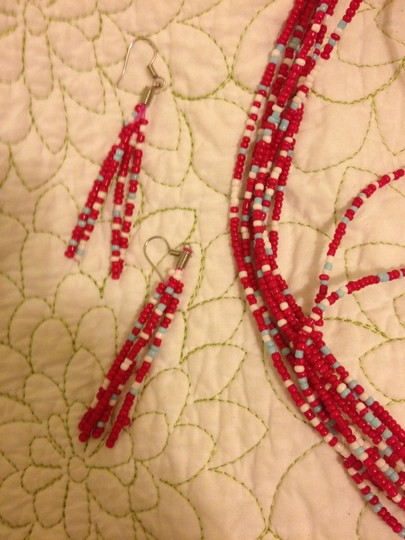 Other Pink, White, Blue Multi-strand Beaded Necklace with Matching Earrings