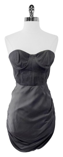Item - Gray Leather & Silk Roxanna Strapless Bustier Mini Night Out Dress Size 4 (S)