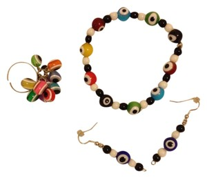 Multicolor Bracelet, Earrings, Ring Set