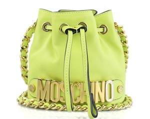 Moschino Bucket Neon Gold Mini Bucket Shoulder Bag