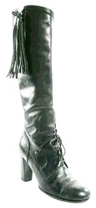 Dolce&Gabbana Dolce & Gabbana Tassels Knee High Leather Leather Black Boots