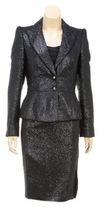 Escada Escada Black Metallic Boucle Blazer and Skirt Suit (Size 34)