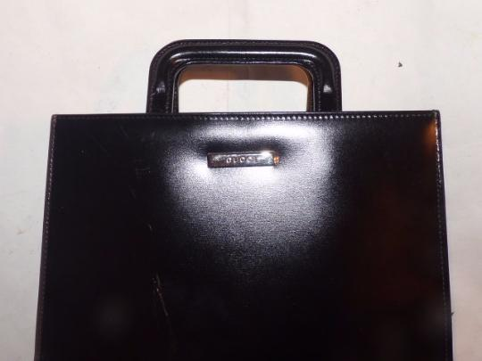 Gucci Small Style Mint Vintage Chrome Hardware Retractable Handles Great For Travel Tote in black Image 1