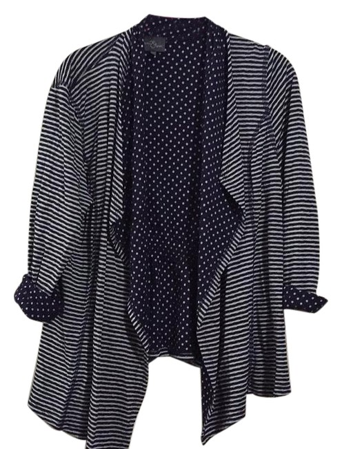 Item - Navy Blue and White Cardigan Size 14 (L)