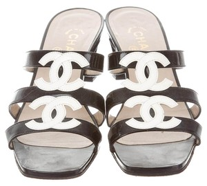 Chanel Patent Leather Strappy Chunky Black, White Sandals