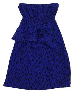 Yumi Kim short dress Royal Blue Black Tiered Strapless on Tradesy
