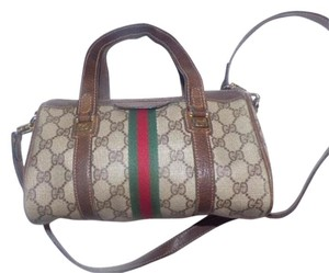 Gucci Doctor's Speedy/boston Large G Logo Print Removable Strap Satchel in shades of brown with wide red/green stripe